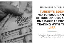 Turkey's BDDK watchdog bans Citigroup, UBS and BNP Paribas from trading with the lira - eCompareFx