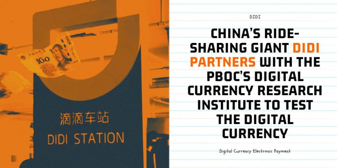 China's Ride-Sharing Giant Didi Partners With the PBOC's Digital Currency Research Institute